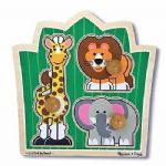 CHILDRENS CHILD MELISSA AND DOUG LARGE PEG JUNGLE FRIENDS ZOO PUZZLE JIGSAW